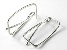 Sterling silver bent wire earrings