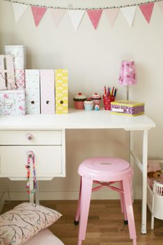 sweet little desk and stool // cardboard magazine files covered with scrapbook paper