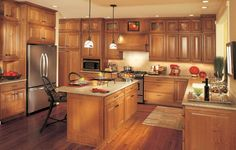 oak cabinets with dark wood floors. kitchen wall paint color oak cabinets Dark hardware  with stainless appliances Oak Cabinets Floor Design Ideas Pictures Remodel and Decor