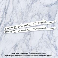 Amor Vincit Omnia Latin Calligraphy Cursive Fake Temporary Tattoo by Tatzarazzi #LatinTattoo
