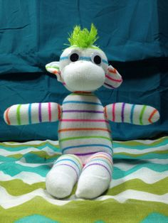 Sock monkey with Mohawk