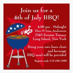 July 4th BBQ Party Invite with blue BBQ and red background