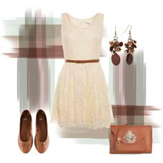White dress brown accents