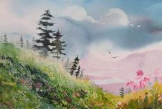 Easy Watercolor Paintings For Beginners Cool Landscapes, Art Painting, Landscape Paintings, Nature Watercolor, Watercolor Landscape Paintings, Art, Creative Art, Watercolor Paintings For Beginners, Water Painting