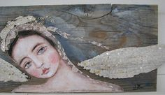 salvage blue angel on barn wood vintage tin wings