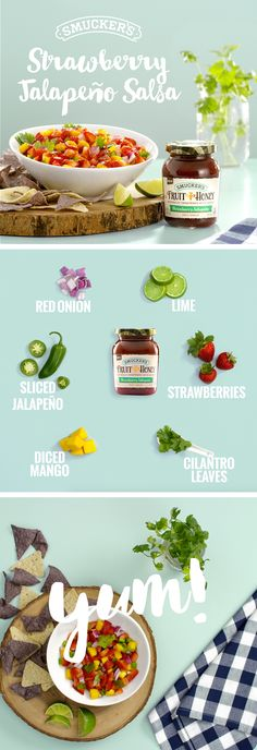 This quick, flavorful salsa is perfect for barbecues, parties, or even just because! Just slice, dice, and mix with Smucker's Fruit & Honey Strawberry Jalapeño Fruit Spread. Serve with your choice of chips.   Ingredients: Red onion, Lime, Strawberries, Sliced jalapeño, Diced mango, Cilantro leaves, Smucker's Fruit & Honey Strawberry Jalapeño Fruit Spread