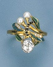 Art Nouveau Enamel, Diamond & Pearl Ring by Dubrt, ca 1900