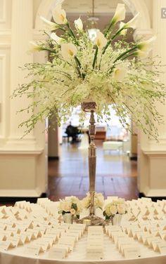 39 Ideas For Wedding Reception Decorations Table Escort Cards Wedding Reception Table Decorations, Tall Wedding Centerpieces, Wedding Flower Arrangements, Floral Centerpieces, Wedding Bouquets, Floral Arrangements, Centerpiece Ideas, Reception Ideas, Photo Centerpieces