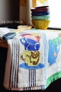 This is a fun template to use for making some semi-homemade tea towels! Or use it some other way – for a quilt, teapot cozy or napkins!