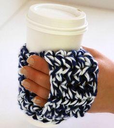 Happy Hands Coffee Cozy | AllFreeCrochet.com