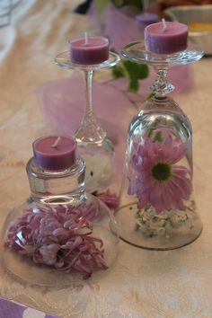 DIY Wine Glass Candle Holders for Weddings wine glass candle holder with pretty pink candles Bridal Shower Decorations, Wedding Centerpieces, Wedding Decorations, Table Decorations, Table Centerpieces, Wedding Table, Diy Wedding Theme, Birthday Decorations, Bougie Rose