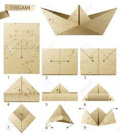 Origami. 9 Pasos para hacer barcos de papel. Ilustraciones Vectoriales.