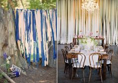 never thought of ribbon backdrops in the reception area...like!