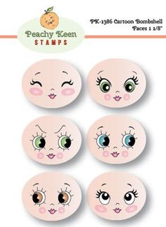 pk 1386 cartoon bombshell faces 1 18 peachy keen stamps home of the original clear peach tinted high quality whimsical face stamps - PIPicStats Flower Pot People, Clay Pot People, Pots D'argile, Clay Pots, Doll Eyes, Doll Face, Peachy Keen Stamps, Face Template, Cartoon Eyes