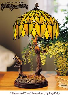 """Flowers and Trees"" Stained Glass Lamp 
