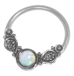 Imitation Opal Captive Ring-2 Colors-20g-18g-16g-14g Cartilage Earring-Nipple Ring-Tragus-Septum Jewelry