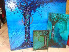 877-469-2270 toll free for info & free ship  -- Abstract TREE OF LIFE modern art Painting Sena Tidwell --- I custom them in any size or color - price starts @ $ 99- to $1400-