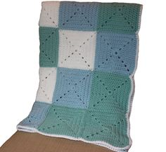 Blue and Green Granny Square Baby Blanket  Blue by ImagineThatBaby #integritytt