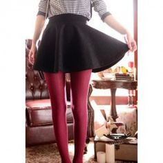 Ladylike Solid Color High Waist Flared Wool Blend Skirt