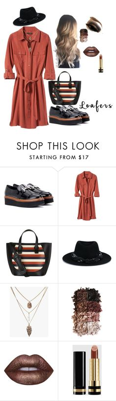 """""""Untitled #163"""" by ellie-em42 ❤ liked on Polyvore featuring Tod's, Banana Republic, Victoria Beckham, Maison Michel, LORAC, Lime Crime and Gucci"""