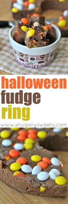 Super simple, yet impressive looking Halloween Fudge Ring. Made with milk chocolate morsels, butterscotch morsels, Oreos, candy corn and White Chocolate Candy Corn m&m's. You can change it up using any candy on hand! Great use for those leftover Halloween candies.