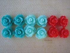 12PCS  Mini Rose Flower Cabochons  10mm  Resin  Mint by ZARDENIA, $3.60