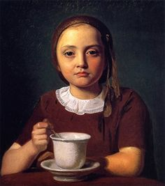 Constantin Hansen (Danish, Golden Age of Danish Painting, 1804–1880): Portrait of Little Girl, Elise Købke, with Cup, 1850. National Gallery of Denmark, Copenhagen, Denmark.