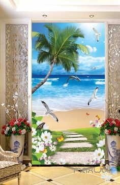 - Superior Quality and Striking Color - Natural, Environmental and Breathable - The images on the picture is for illustration purpose only, please refer to the actual size sheet. - If you need cu Beach Wall Decals, Beach Mural, Wall Mural Decals, Door Murals, Disney Mural, Palm Trees Beach, Beach Grass, Magical Room, Painted Glass Vases