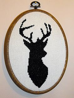 Deer head cross stitch pattern