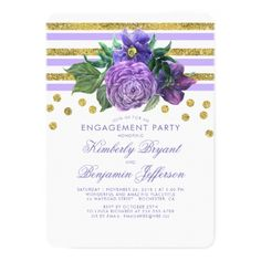 #stripes - #Gold Stripes and Purple Flowers Engagement Party Card