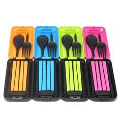 Portable Travel Folding Cutlery Chopsticks Fork Spoon Set Storage Box Case - S Camping Kitchen Table, Picknick Set, Nugget Ice Maker, Gabel, Chopsticks, Disney Food, Flatware Set, Gifts For Kids, Spoon