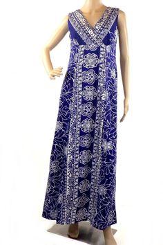 Vintage MAKO HAWAII  Floral Sleeveless V-Neck Floor Length Maxi Dress Acrylic #MAKOHAWAII #Hawaiian #Casual