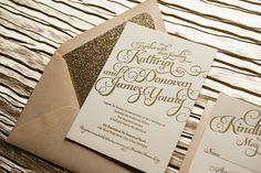 Blush & Gold Wedding Invitation Gold Glitter by FlairNecessities