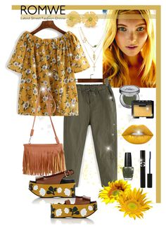 """ROMWE - Yellow Floral Blouse"" by giovanina-001 ❤ liked on Polyvore featuring Bling Jewelry, Urban Decay, Lime Crime, NARS Cosmetics, OPI, Sisley and Marni"