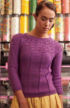 Пуловер с круглой кокеткой. Этот пуловер не имеет не единого шва. . Обсуждение на LiveInternet - Российский Сервис Онлайн-Дневников