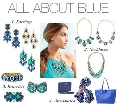 Stella & Dot ALL ABOUT BLUE - 2017 trends in accessories - tassels, statement necklaces, bangles, bags etc. Sign up today for a facebook trunk show and get huge discounts.