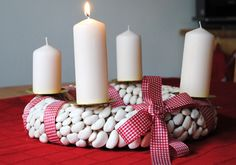 Make your own Advent wreath - 4 simple instructions with tips + 115 unusual and traditional i. : Make your own Advent wreath – 4 simple instructions with tips + 115 unusual and traditional ideas – living ideas and decoration, Christmas Wreaths, Christmas Decorations, Xmas, Table Decorations, Make Your Own, Make It Yourself, Advent Wreath, Crafts For Boys, Love Design