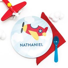 Personalized Plate for Kids - Airplane Plate - Add Bowl Option