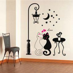 4c3ce289e Cute Couples Cats Cartoon Wall Sticker Kids Children's Room Decor Sales  Online. Wall Stickers ...