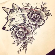 Fox and roses tattoo design