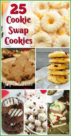 25 Cookie Swap Cookies - My Joy-Filled Life Mini Desserts, Cookie Desserts, Cookie Recipes, Delicious Desserts, Dessert Recipes, Delicious Cookies, Bar Recipes, Baking Recipes, Recipies