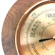 These barometers are one of Timber-Treasures' signature lines, made in our Bristol workshop and signed by the maker, David Gladden. Using high quality brass German instruments, and expert workmanship, these barometers are beautiful and practical instruments, that can predict the weather using air pressures. Hand turned frame in Walnut from Dinton, Wiltshire. Works continuously without the need for batteries Dimensions: 16 cm diameter x 4 cm* *handmade disclaimer