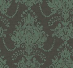damask wallpaper in brown & mint green