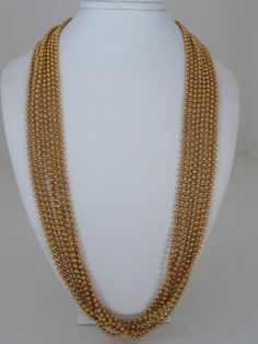 Vintage Napier Gold Metal Bead Necklace