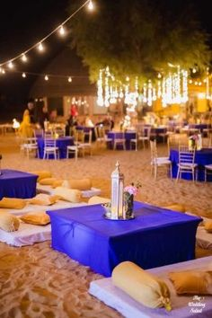 sangeet decor colors - Jewel Blue and champaign or light gold Indian Beach Wedding, Boho Wedding, Destination Wedding, Mehendi, Mehndi Decor, Night Beach Weddings, Wedding Night, Jodhpur, Royal Blue And Gold