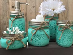 Hand Painted Mason Jar Bathroom Set, Mason Jar Soap Dispenser, Bathroom Accessories, Bathroom Decor, Choose Your Color, Mothers Day by MidnightOwlCandleCo on Etsy