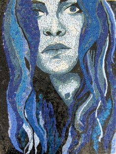 Of Water -  Monochromatic Blue Mosaic Portrait by Monique Sarfity