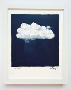 Original Painting, Acrylic Painting, Cloud Art, Cloud Painting, Landscape Painting, Painting on Paper, Wall Art, Navy, Abtract Painting