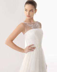 236 CARLA | Wedding Dresses | 2014 Rosa Clara Collection | Rosa Clara | Shown with thin Bow Belt at waist & with sleeveless Illusion Jacket (close up)