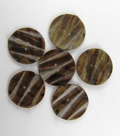 Vintage Lot of 6 Brown Tones Carved Bakelite Buttons * 34 mm *** # B-124 by TheTreasureBoxOrna on Etsy